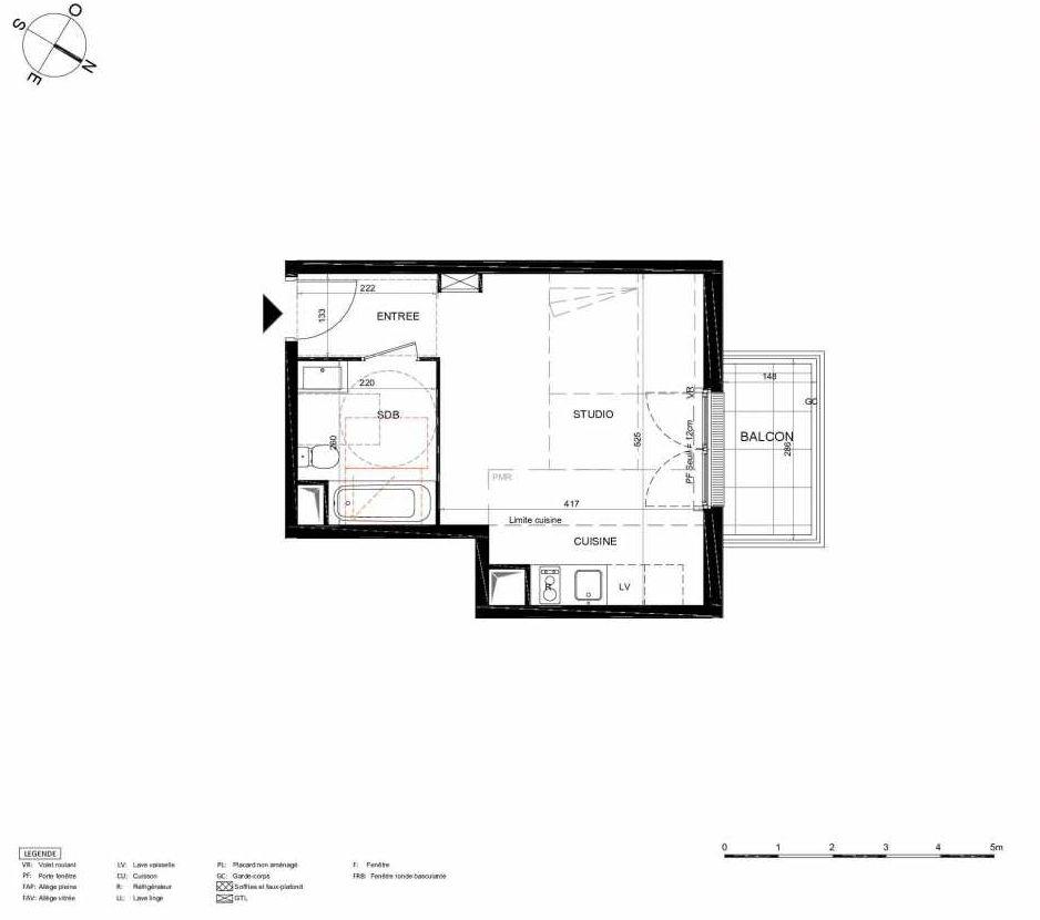 Plan 338, appartement neuf type T1 au 3ème étage, orienté Nord faisant 29m² du programme neuf LES JARDINS BALZAC BAT 2 à Argenteuil.