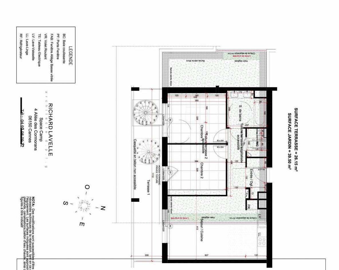 Plan 34, appartement neuf type T3 au 3ème étage, orienté Sud faisant 67m² du programme neuf Horizon Bay à Cannes.