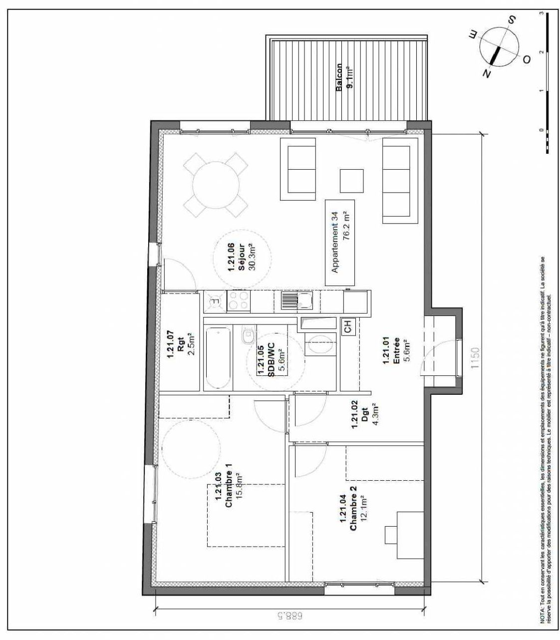 Plan 34, appartement neuf type T3 au 1er étage, orienté Sud faisant 76m² du programme neuf Patio du Lac à Monteux.