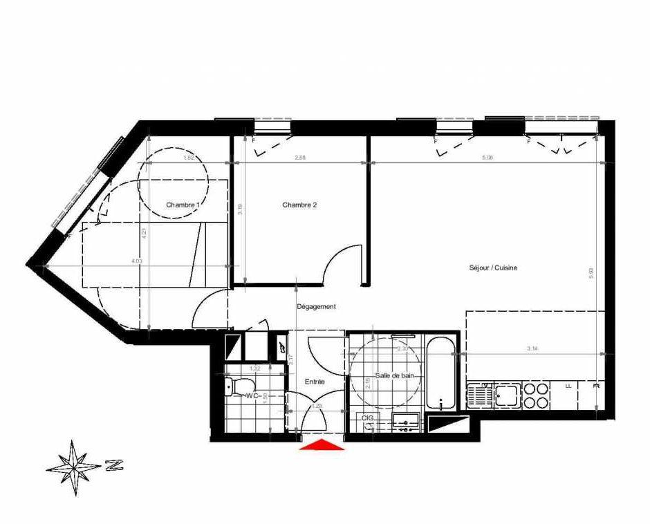 Plan 3402, appartement neuf type T3 au 4ème étage, orienté Ouest faisant 61m² du programme neuf CITY PARK CAGE 3 à Gonesse.