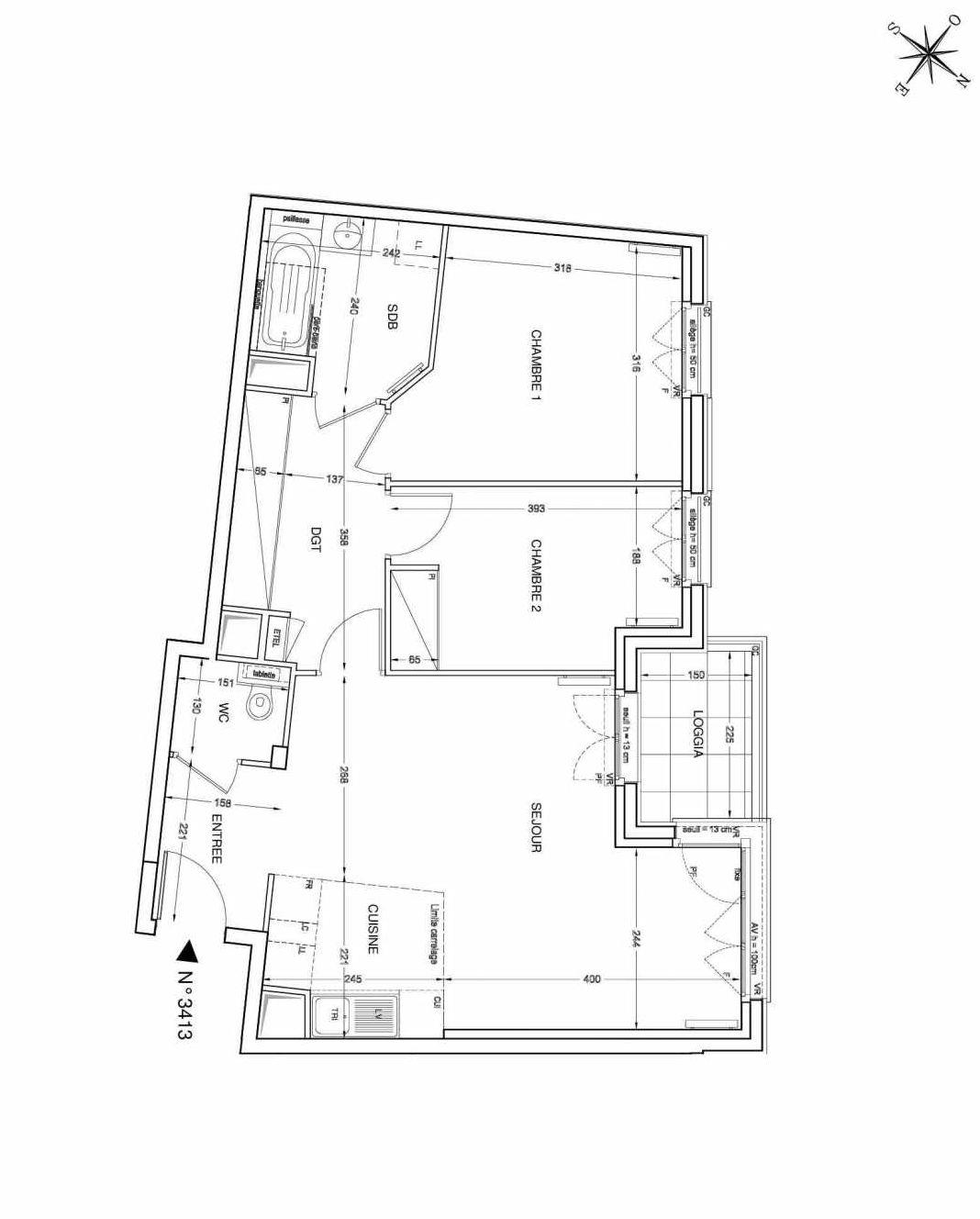 Plan 3413, appartement neuf type T3 au 4ème étage, faisant 64m² du programme neuf UNANIME à Clichy.
