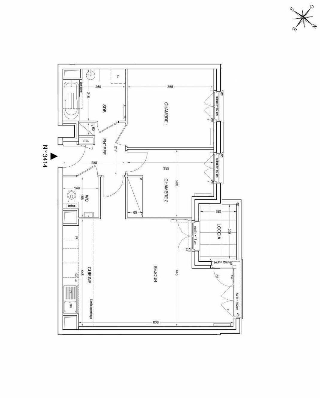 Plan 3414, appartement neuf type T3 au 4ème étage, faisant 62m² du programme neuf UNANIME à Clichy.