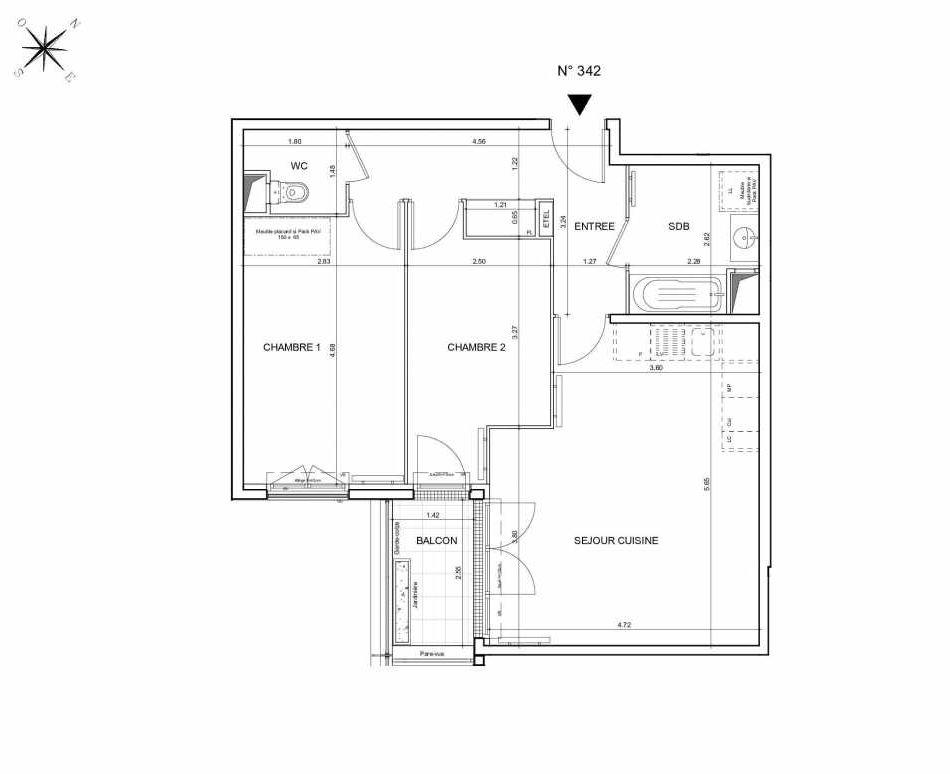 Plan 342, appartement neuf type T3 au 4ème étage, orienté Sud faisant 65m² du programme neuf Arboria à Drancy.