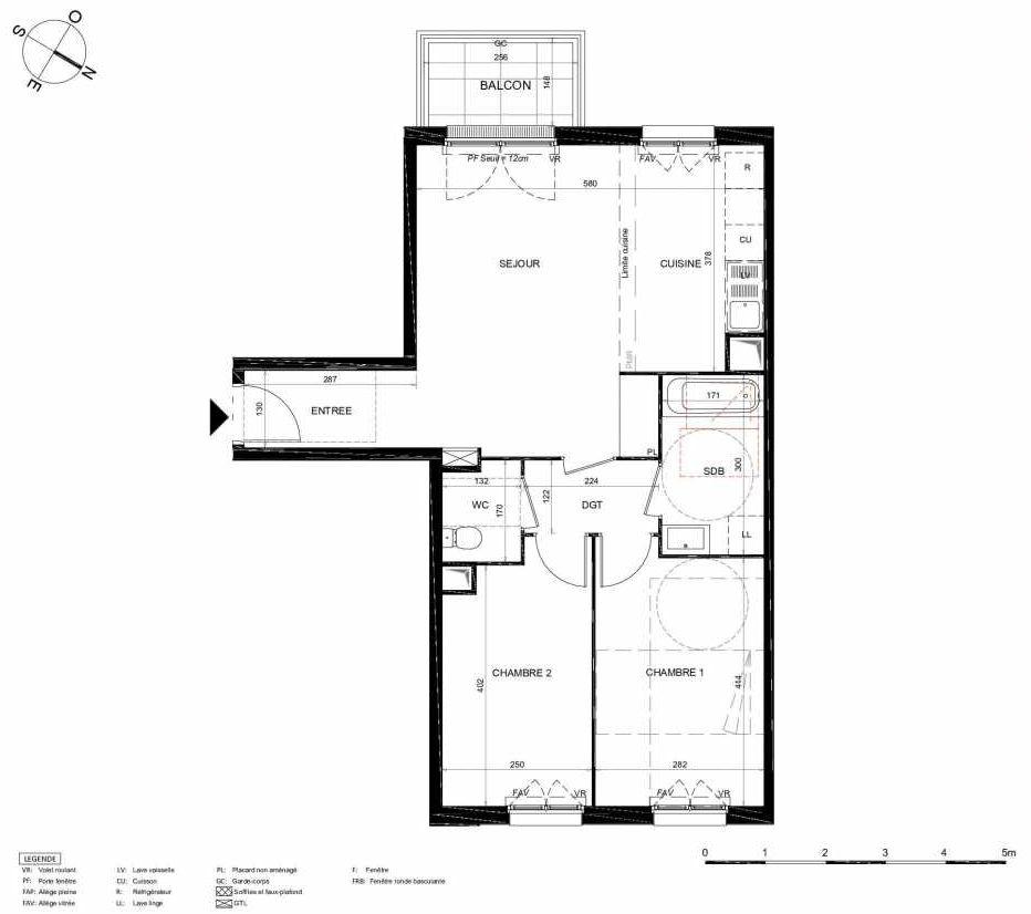 Plan 342, appartement neuf type T3 au 4ème étage, orienté Sud faisant 63m² du programme neuf LES JARDINS BALZAC BAT 2 à Argenteuil.