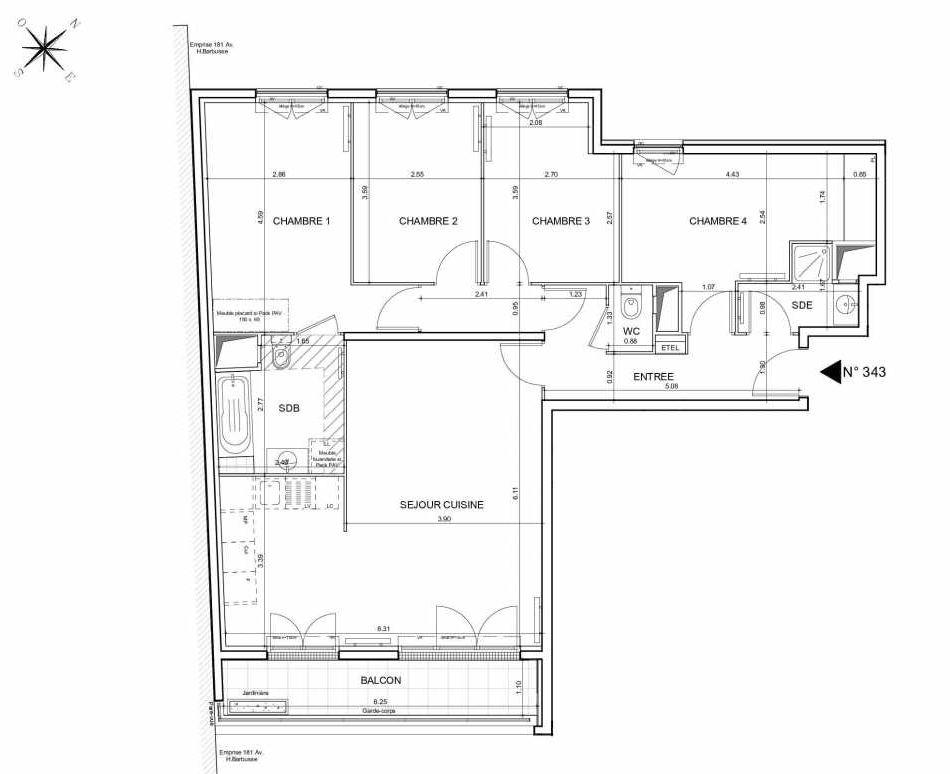 Plan 343, appartement neuf type T5 au 4ème étage, orienté Sud faisant 97m² du programme neuf Arboria à Drancy.