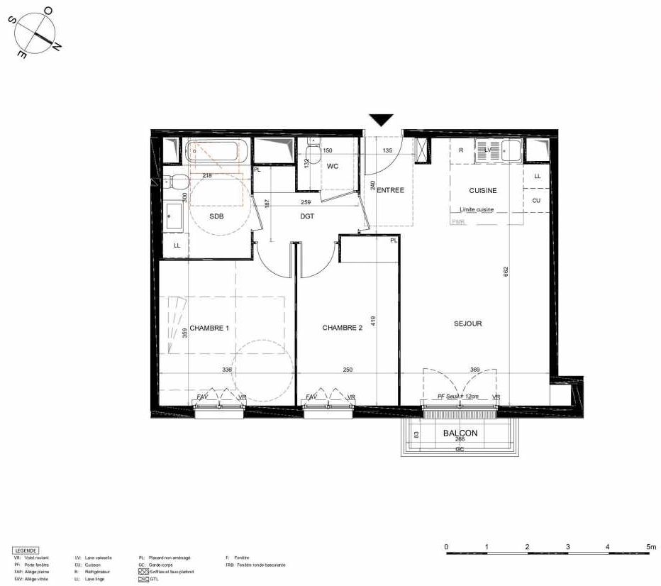 Plan 343, appartement neuf type T3 au 4ème étage, orienté Nord faisant 61m² du programme neuf LES JARDINS BALZAC BAT 2 à Argenteuil.