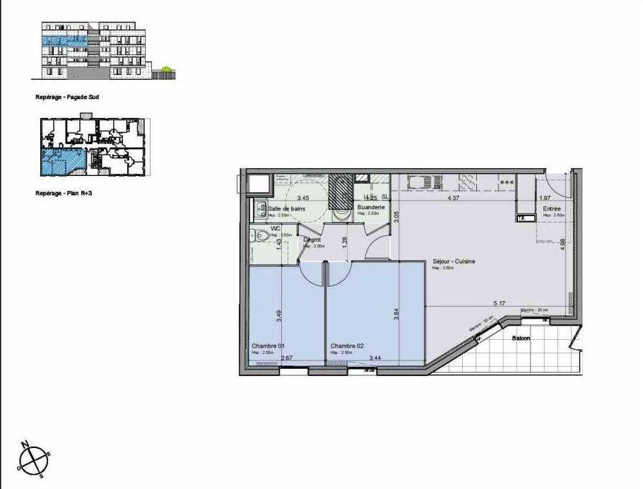 Plan 35, appartement neuf type T3 au 3ème étage, orienté Sud faisant 67m² du programme neuf Greystone à Lille.