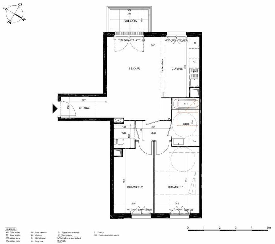 Plan 352, appartement neuf type T3 au 5ème étage, orienté Sud faisant 63m² du programme neuf LES JARDINS BALZAC BAT 2 à Argenteuil.