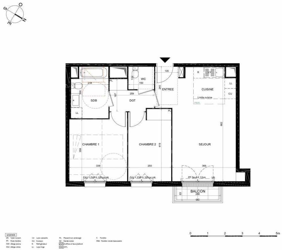 Plan 353, appartement neuf type T3 au 5ème étage, orienté Nord faisant 61m² du programme neuf LES JARDINS BALZAC BAT 2 à Argenteuil.