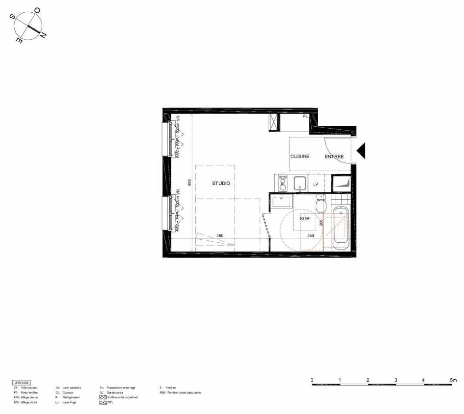 Plan 355, appartement neuf type T1 au 5ème étage, orienté Sud faisant 30m² du programme neuf LES JARDINS BALZAC BAT 2 à Argenteuil.