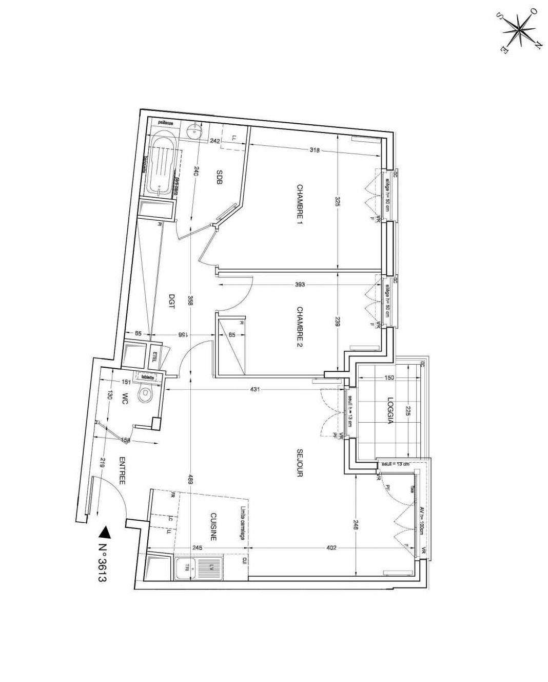 Plan 3613, appartement neuf type T3 au 6ème étage, faisant 64m² du programme neuf UNANIME à Clichy.