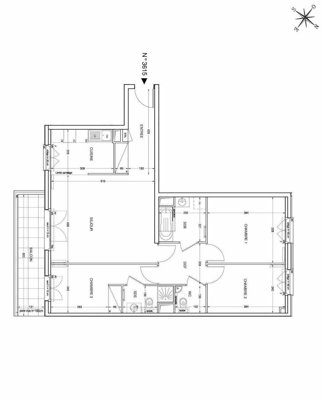 Plan 3615, appartement neuf type T4 au 6ème étage, faisant 82m² du programme neuf UNANIME à Clichy.