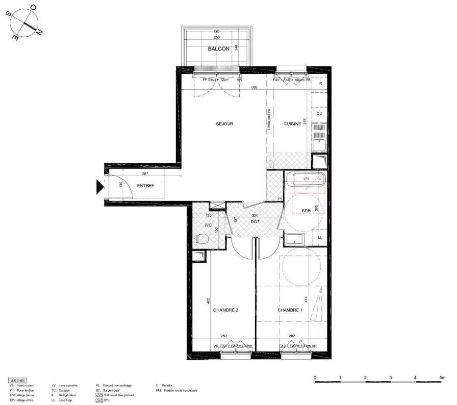 Plan 362, appartement neuf type T3 au 6ème étage, orienté Sud faisant 63m² du programme neuf LES JARDINS BALZAC BAT 2 à Argenteuil.