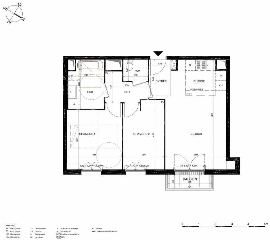 Plan 363, appartement neuf type T3 au 6ème étage, orienté Nord faisant 61m² du programme neuf LES JARDINS BALZAC BAT 2 à Argenteuil.