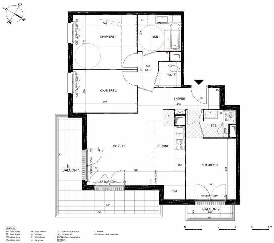 Plan 364, appartement neuf type T4 au 6ème étage, orienté Sud faisant 80m² du programme neuf LES JARDINS BALZAC BAT 2 à Argenteuil.