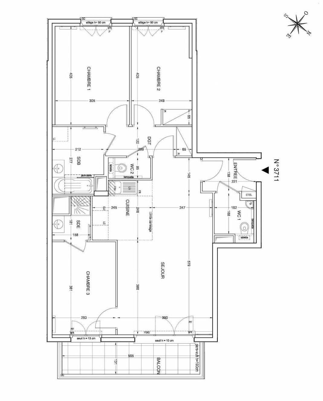 Plan 3711, appartement neuf type T4 au 7ème étage, faisant 80m² du programme neuf UNANIME à Clichy.