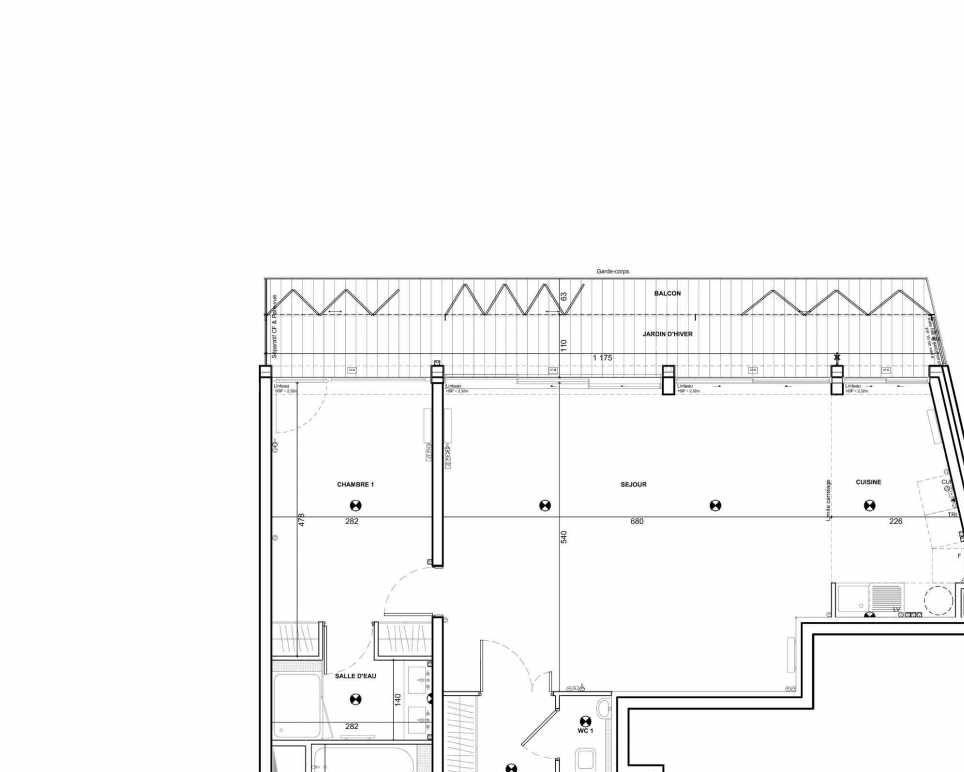 Plan 372, appartement neuf type T5 au 7ème étage, faisant 128m² du programme neuf 122 Damremont à Paris.