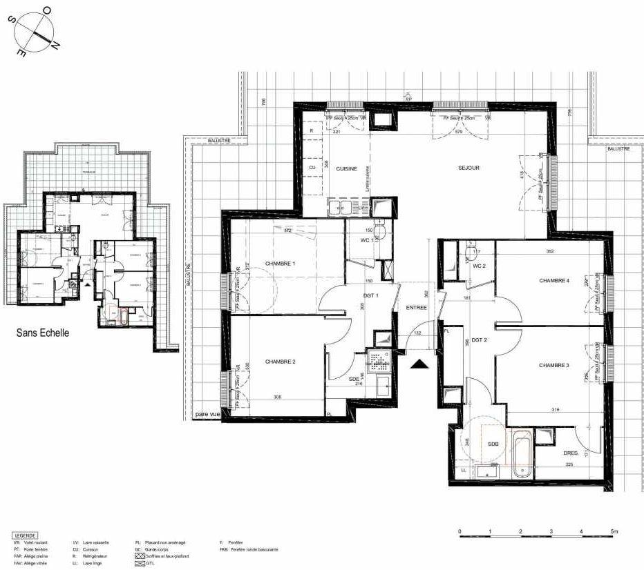 Plan 373, appartement neuf type T5 au 7ème étage, orienté Sud faisant 105m² du programme neuf LES JARDINS BALZAC BAT 2 à Argenteuil.