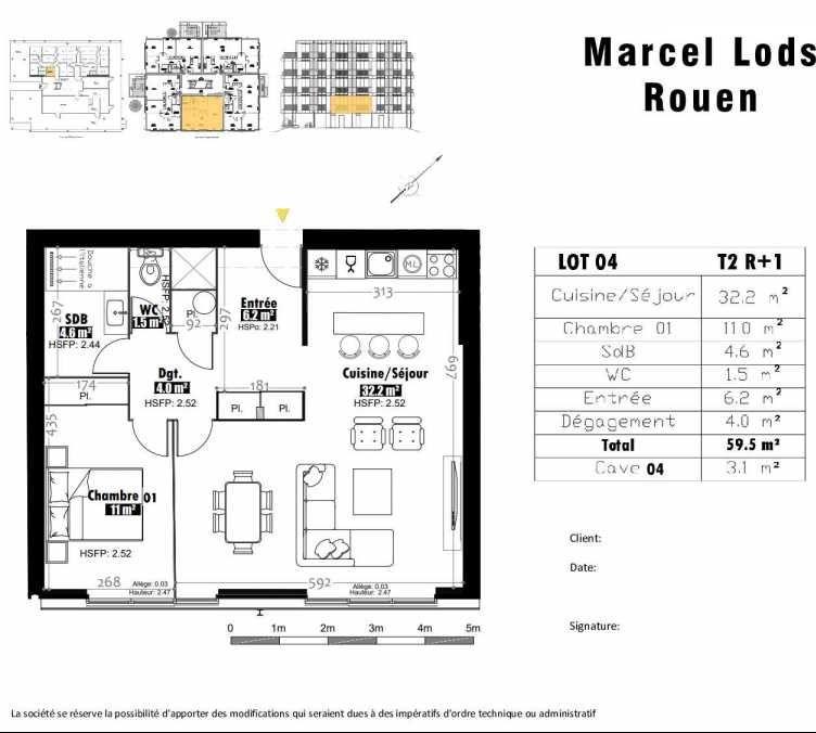 Plan 4, appartement neuf type T2 au 1er étage, faisant 60m² du programme neuf 15 rue Jean-Philippe Rameau à Rouen.