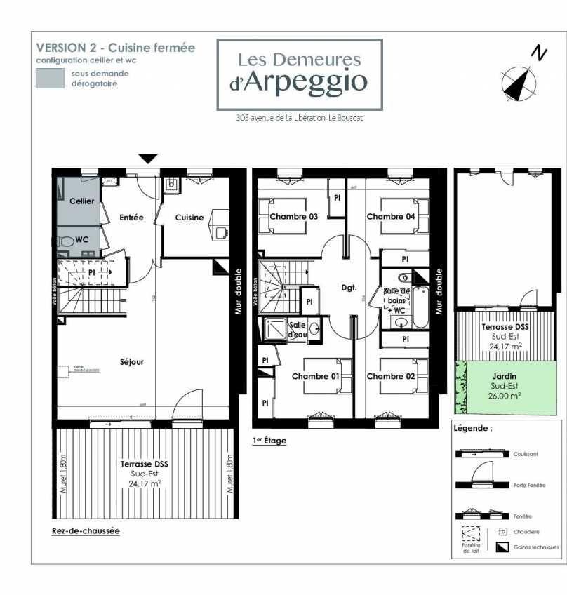 Plan 4, appartement neuf type T5 au Rez de chaussée, orienté Sud faisant 112m² du programme neuf LES DEMEURES D'ARPEGGIO à Le Bouscat.