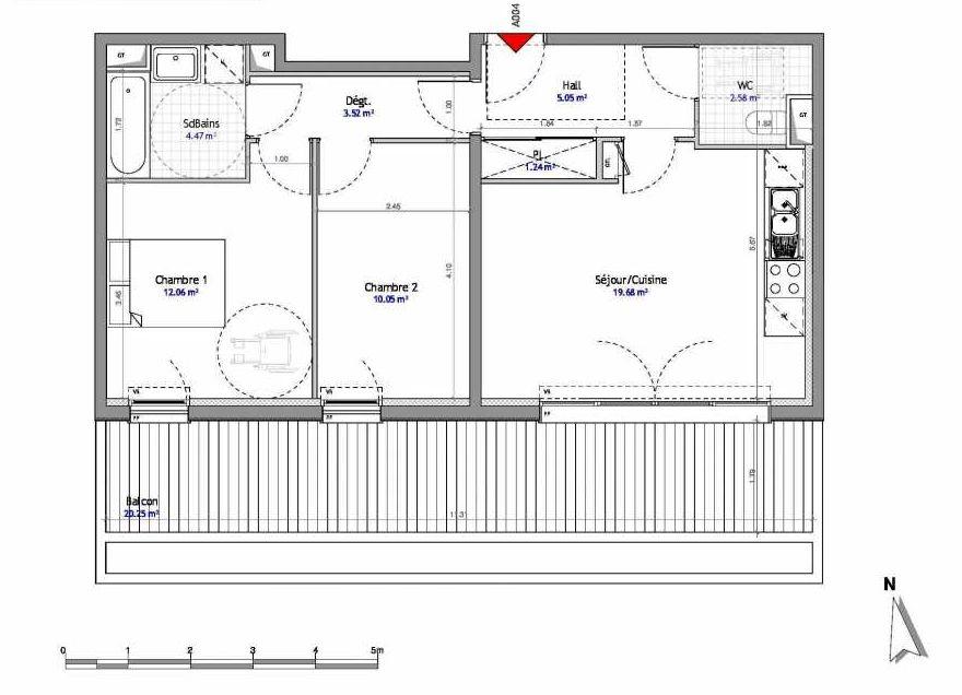 Plan 4, appartement neuf type T3 au Rez de chaussée, orienté Est faisant 59m² du programme neuf SOUTH PARK BAT A NUE PROPRIETE à Amiens.