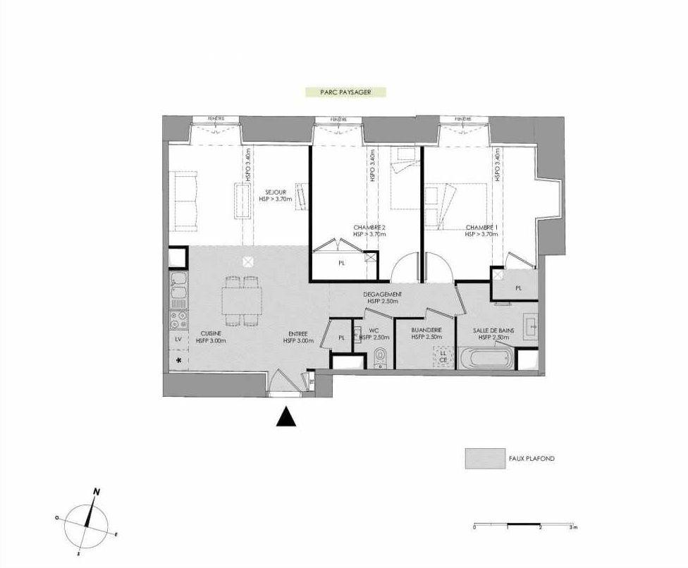 Plan 4.102, appartement neuf type T3 au 1er étage, faisant 72m² du programme neuf LE DOMAINE SAINT-LOUIS à Chalon-sur-Saône.