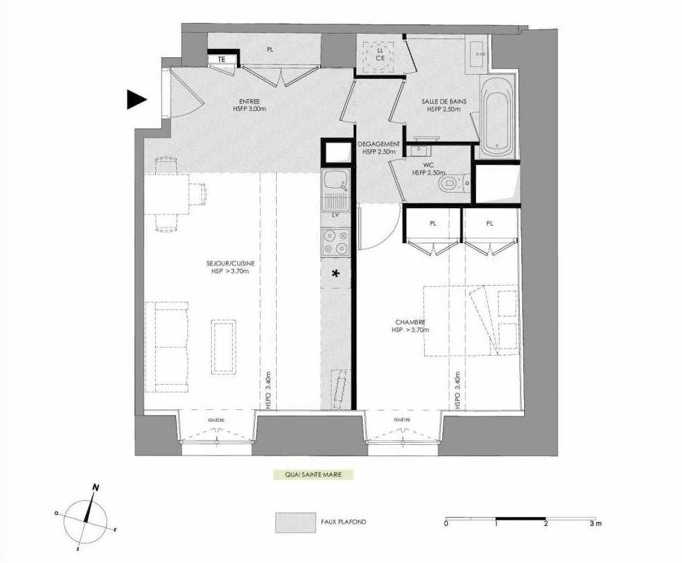 Plan 4.103, appartement neuf type T2 au 1er étage, faisant 51m² du programme neuf LE DOMAINE SAINT-LOUIS à Chalon-sur-Saône.