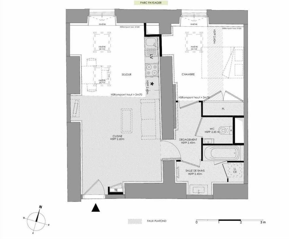 Plan 4.201, appartement neuf type T2 au 2ème étage, faisant 48m² du programme neuf LE DOMAINE SAINT-LOUIS à Chalon-sur-Saône.