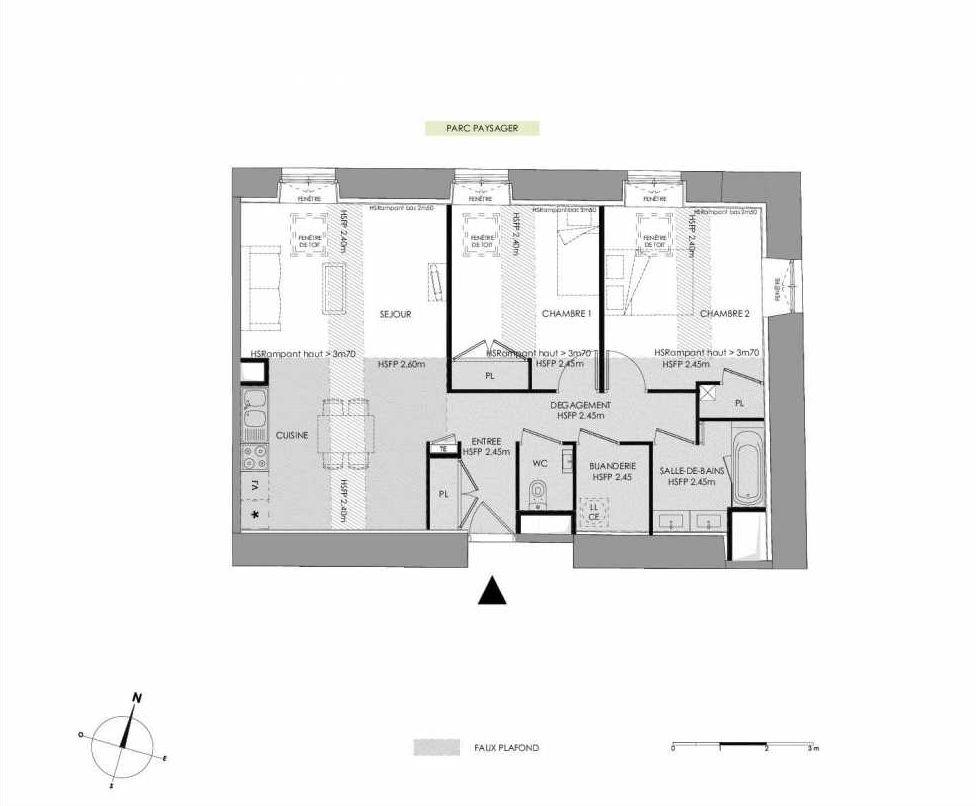 Plan 4.202, appartement neuf type T3 au 2ème étage, faisant 73m² du programme neuf LE DOMAINE SAINT-LOUIS à Chalon-sur-Saône.