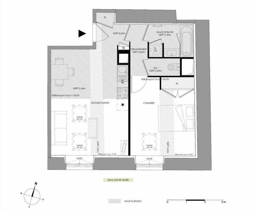 Plan 4.203, appartement neuf type T2 au 2ème étage, faisant 48m² du programme neuf LE DOMAINE SAINT-LOUIS à Chalon-sur-Saône.
