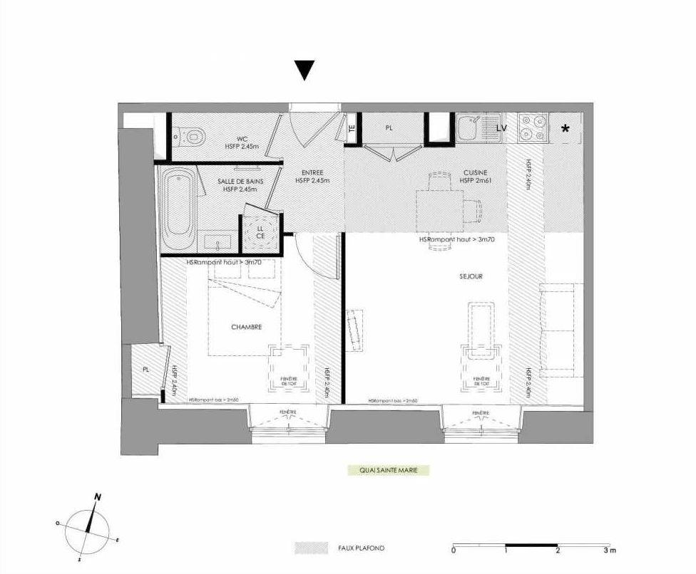 Plan 4.204, appartement neuf type T2 au 2ème étage, faisant 44m² du programme neuf LE DOMAINE SAINT-LOUIS à Chalon-sur-Saône.