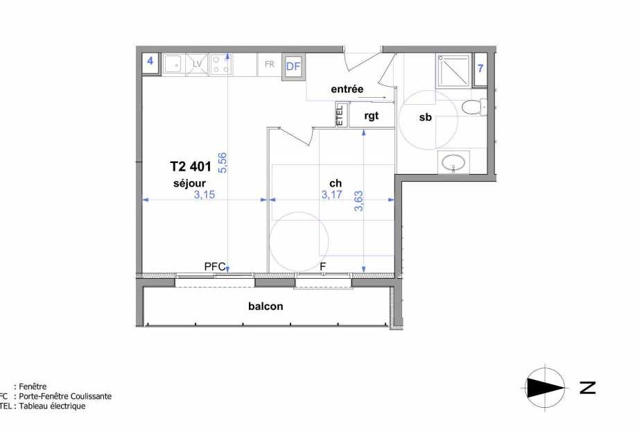 Plan 401, appartement neuf type T2 au 4ème étage, orienté Est faisant 41m² du programme neuf Au fil de l'O1 à Maromme.