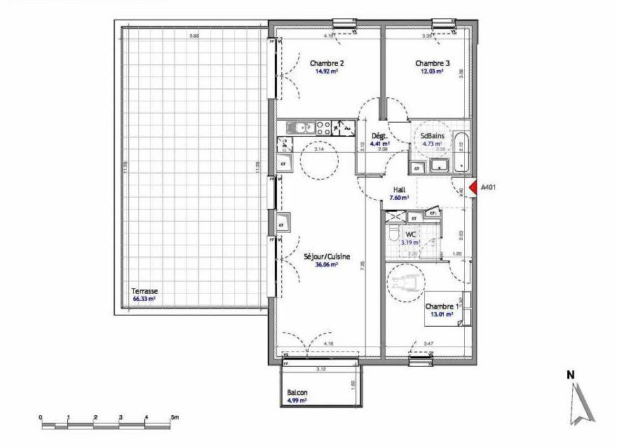 Plan 401, appartement neuf type T4 au 4ème étage, orienté Est faisant 96m² du programme neuf SOUTH PARK BAT A NUE PROPRIETE à Amiens.