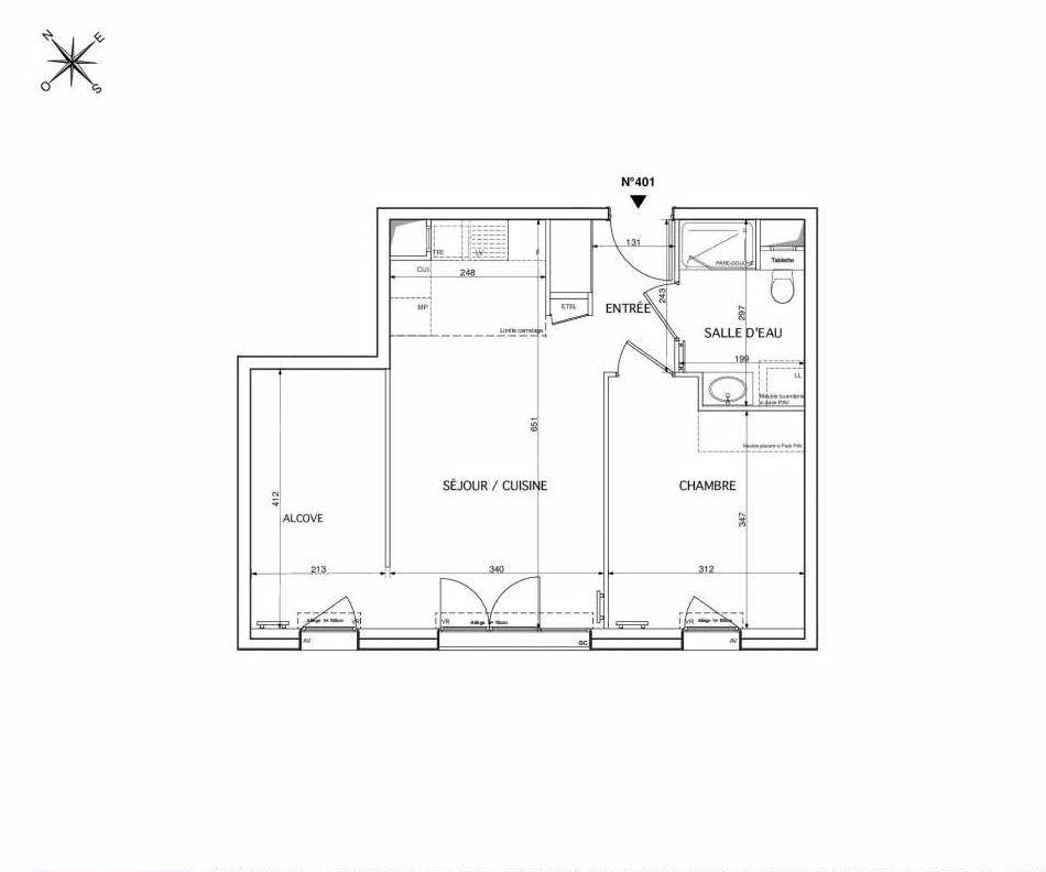 Plan 401, appartement neuf type T2 au 4ème étage, orienté Sud faisant 50m² du programme neuf Westmont à Rueil-Malmaison.
