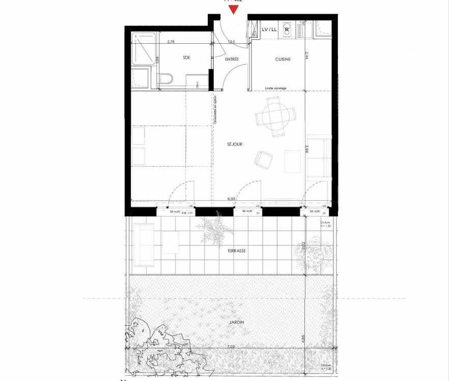 Plan 402, appartement neuf type T1 au Rez de chaussée, orienté Sud faisant 42m² du programme neuf 2 PRIEURE BATIMENT 4 à Saint-Germain-en-Laye.