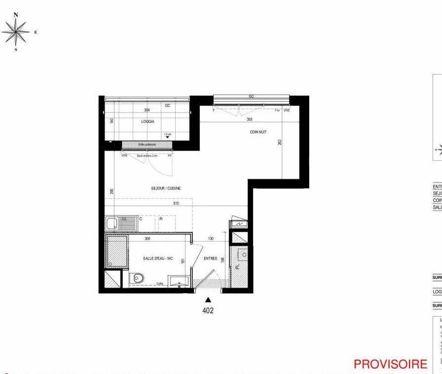 Plan 402, appartement neuf type T2 au 4ème étage, orienté Nord faisant 31m² du programme neuf L'Exception à Nantes.