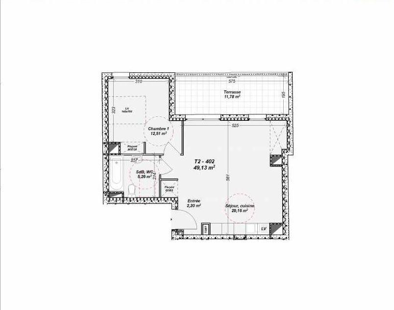 Plan 402, appartement neuf type T2 au 4ème étage, orienté Nord faisant 49m² du programme neuf Le Dôme à Marseille.
