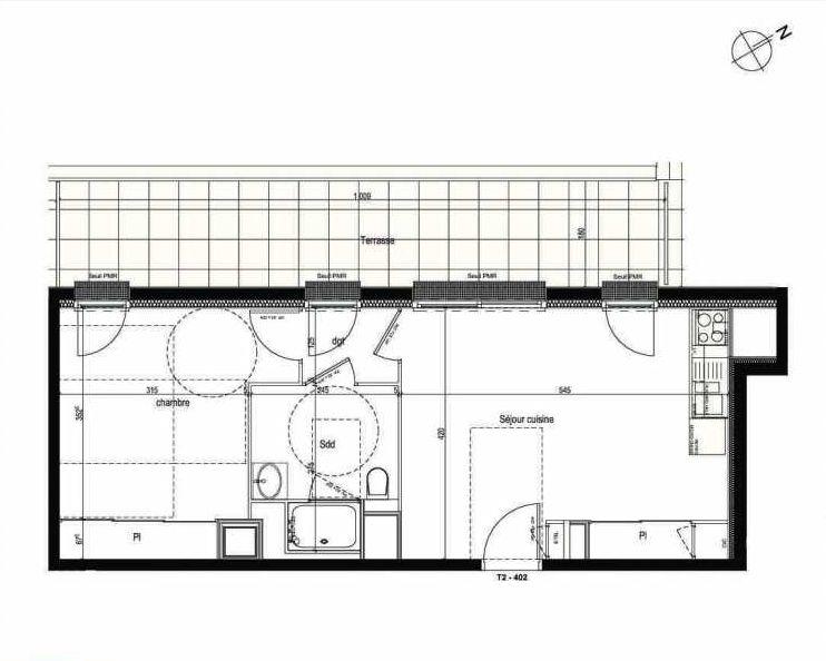 Plan 402, appartement neuf type T2 au 4ème étage, faisant 44m² du programme neuf Les Boréales à Rouen.
