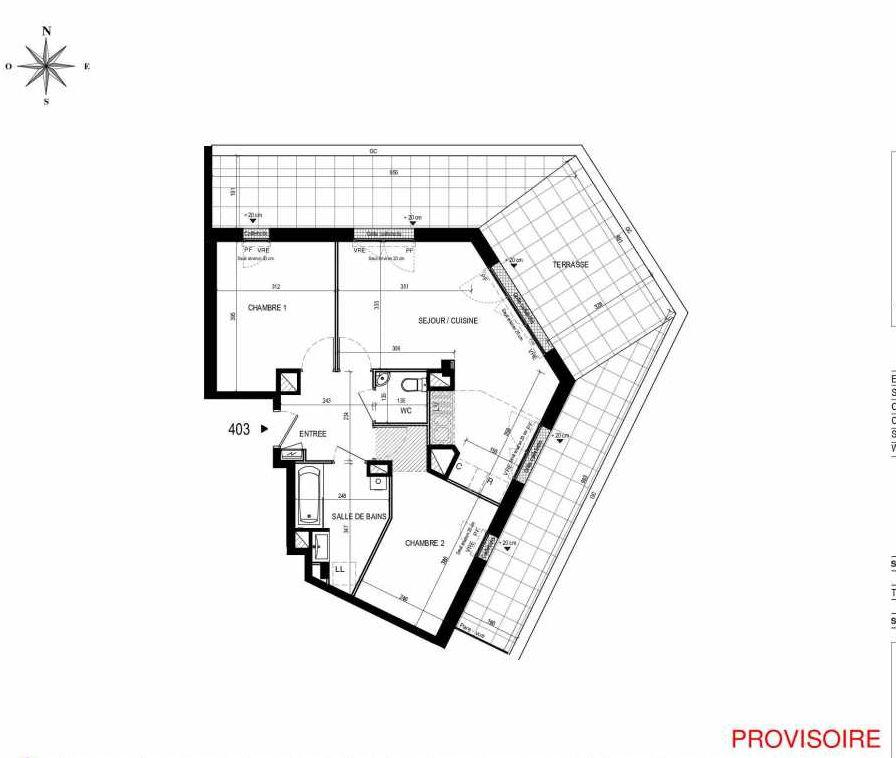 Plan 403, appartement neuf type T3 au 4ème étage, orienté Sud faisant 59m² du programme neuf L'Exception à Nantes.