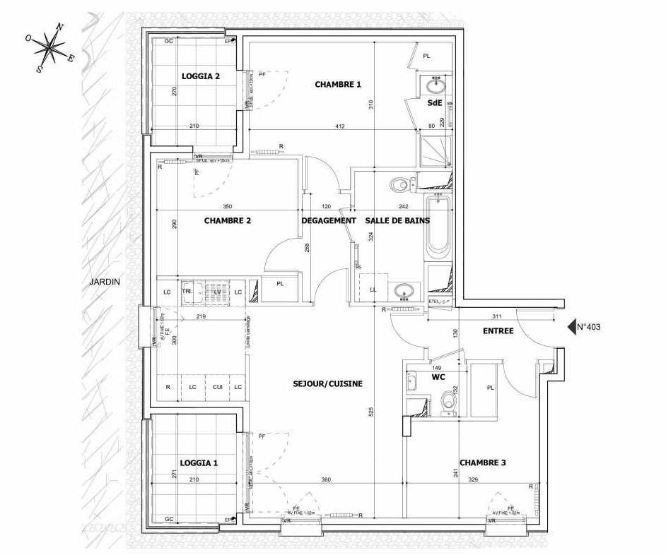 Plan 403, appartement neuf type T4 au Rez de chaussée, orienté Sud faisant 80m² du programme neuf SO OH TRANCHE 2 à Asnières-sur-Seine.