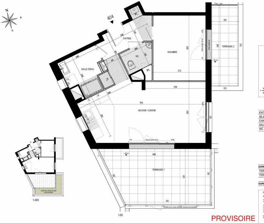 Plan 404, appartement neuf type T2 au 4ème étage, orienté Sud faisant 52m² du programme neuf L'Exception à Nantes.