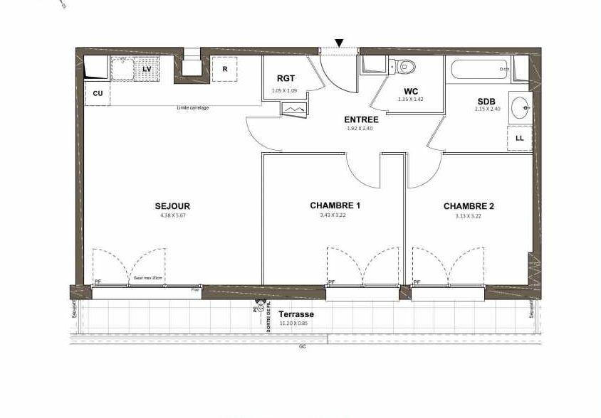 Plan 404, appartement neuf type T3 au 4ème étage, faisant 59m² du programme neuf Pavillon Royal à Saint-Cyr-l'École.