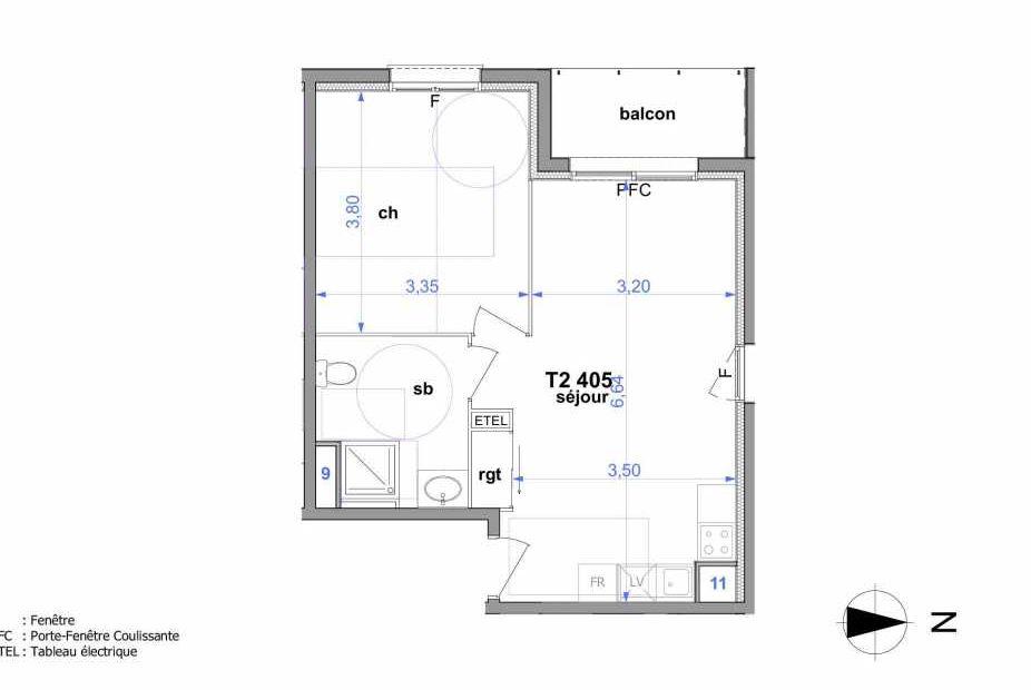 Plan 405, appartement neuf type T2 au 4ème étage, orienté Ouest faisant 43m² du programme neuf Au fil de l'O1 à Maromme.