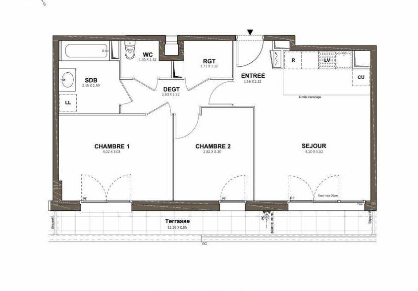 Plan 405, appartement neuf type T3 au 4ème étage, faisant 58m² du programme neuf Pavillon Royal à Saint-Cyr-l'École.
