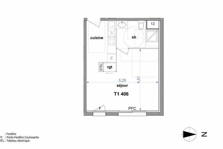 Plan 406, appartement neuf type T1 au 4ème étage, orienté Est faisant 33m² du programme neuf Au fil de l'O1 à Maromme.