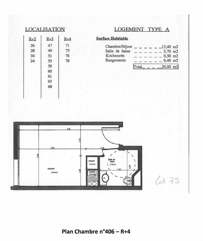 Plan 406, appartement neuf type T1 au 4ème étage, orienté Est faisant 20m² du programme neuf Les Jardins d'Epinay à Épinay-sur-Seine.
