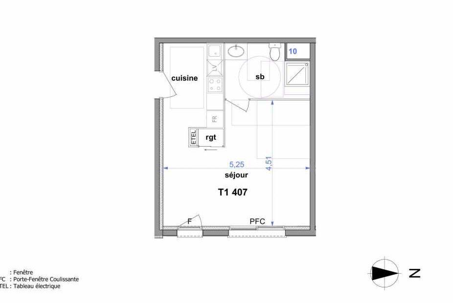 Plan 407, appartement neuf type T1 au 4ème étage, orienté Est faisant 33m² du programme neuf Au fil de l'O1 à Maromme.