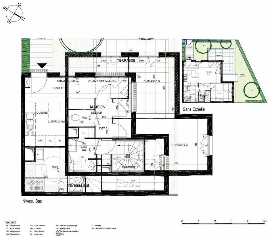 Plan 409, appartement neuf type T5 au Rez de chaussée, orienté Sud faisant 93m² du programme neuf LES JARDINS BALZAC BAT 2 à Argenteuil.