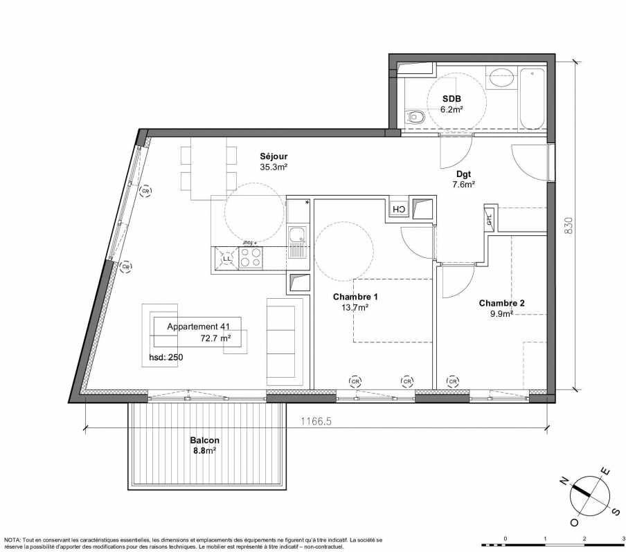 Plan 41, appartement neuf type T3 au 2ème étage, orienté Ouest faisant 73m² du programme neuf Patio du Lac à Monteux.