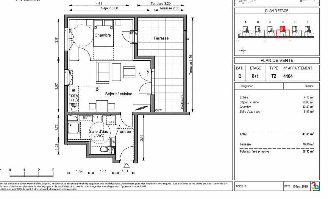 Plan 4104, appartement neuf type T2 au 1er étage, orienté Sud faisant 43m² du programme neuf LIGNE BLEUE BATS C-D-E-F à Marseille.